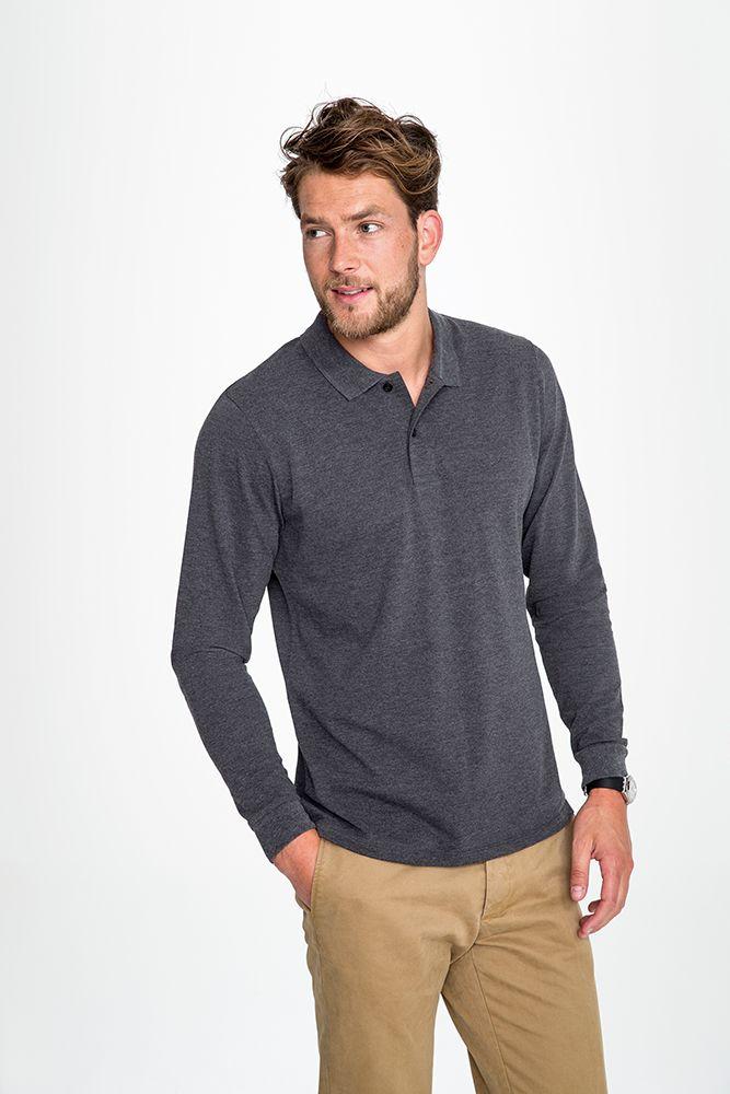 118d552d80877 Рубашка поло мужская с длинным рукавом PERFECT LSL MEN, черная ...